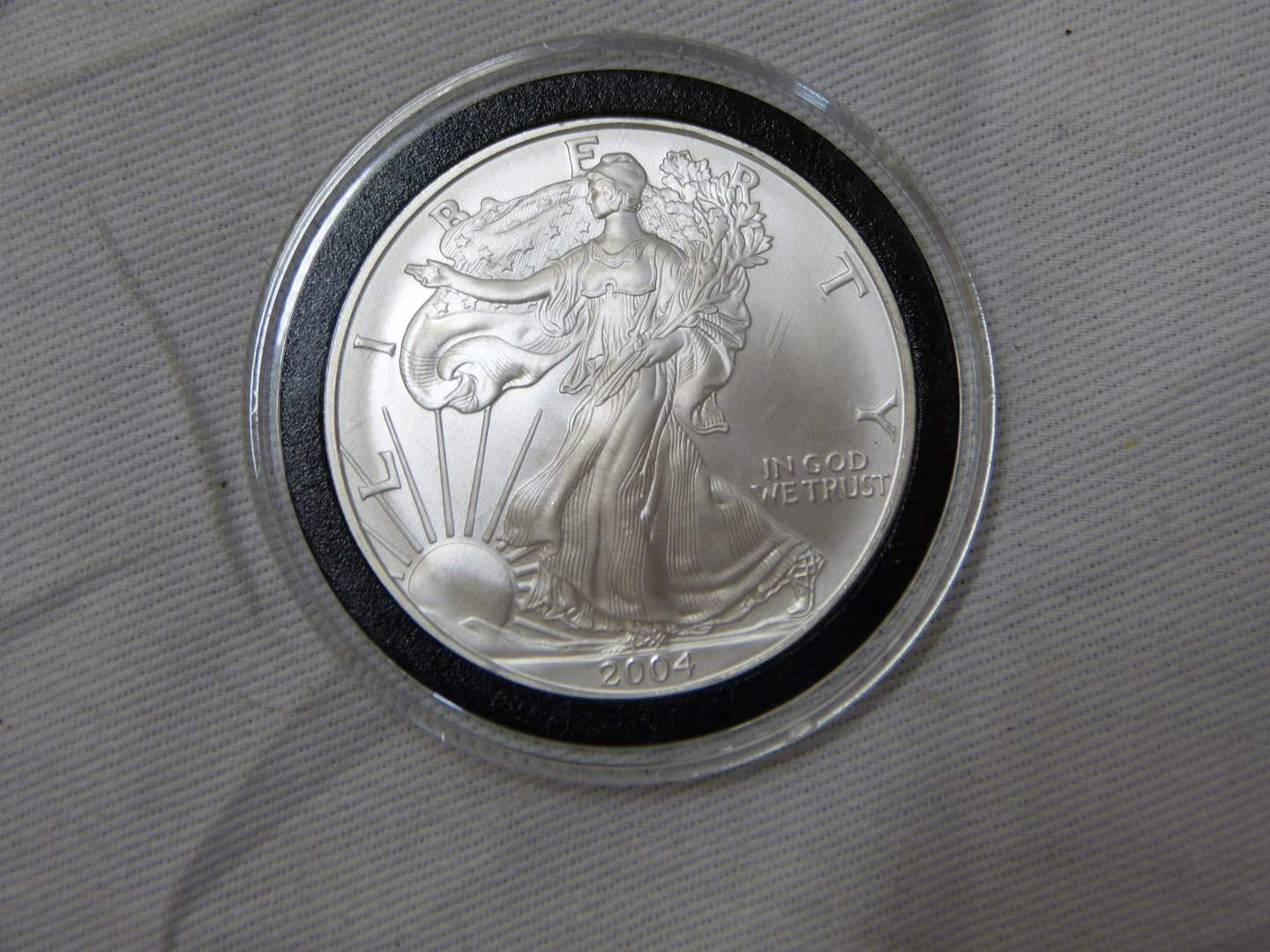 Lot # 203  2004 .999 One Ounce Eagle uncirculated condition w/protective case (main image)