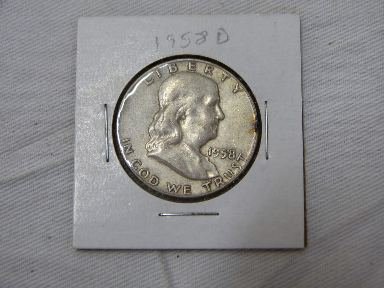 Lot # 206  Great 1958-D Franklin silver half dollar (main image)