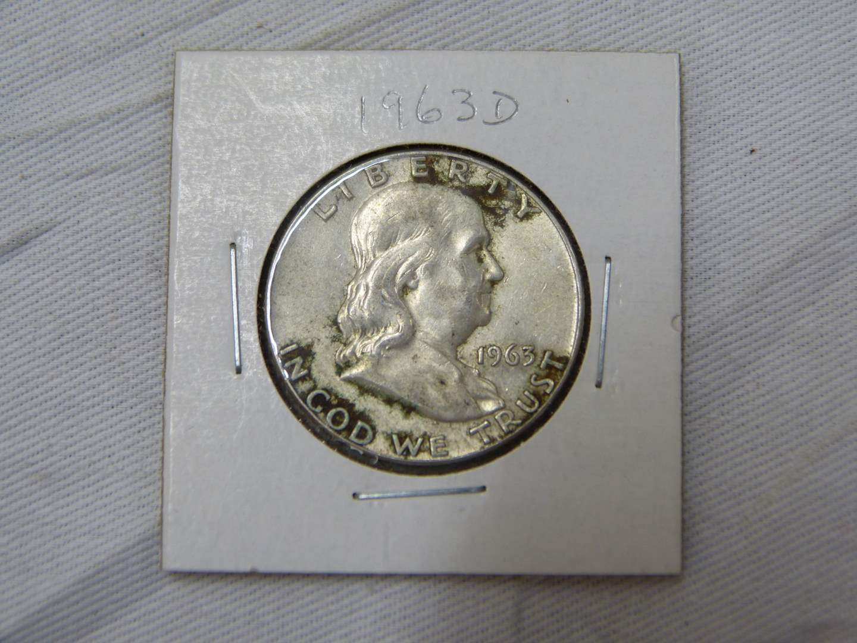 Lot # 207  Clean 1963-D US silver Franklin half dollar