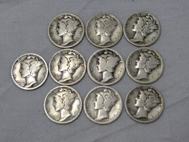 Lot # 209  Great lot of Mercury silver dimes (main image)
