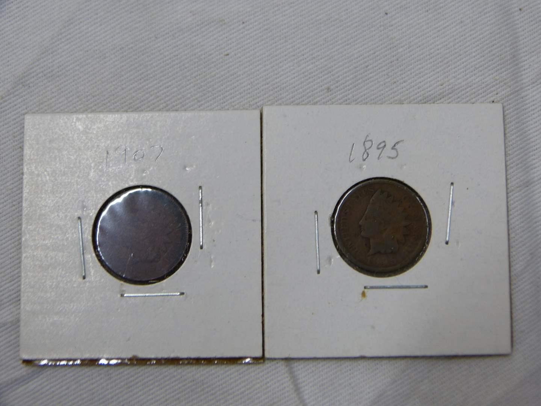 Lot # 216 2 Nice Indian Head pennies 1895 & 1907