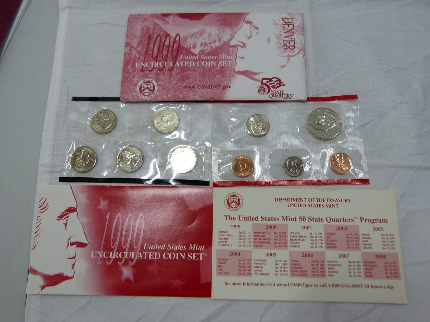 Lot # 224  1999 US uncirculated coin set with state quarters (main image)