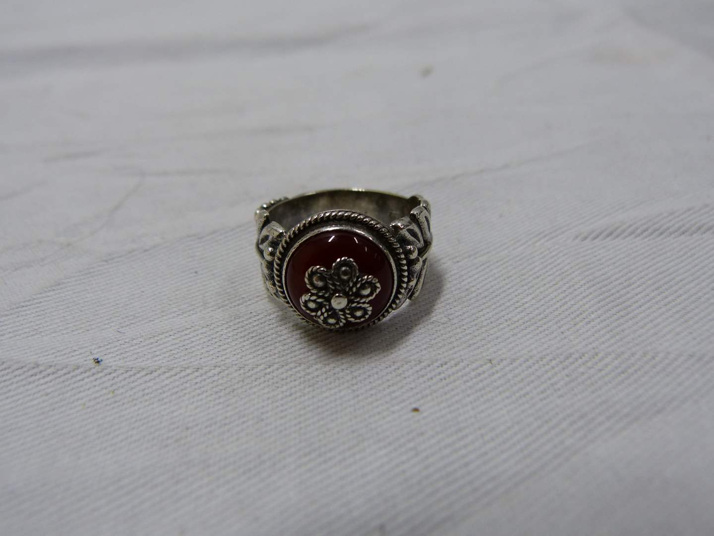 Lot # 226  Very unique sterling silver ring size 8
