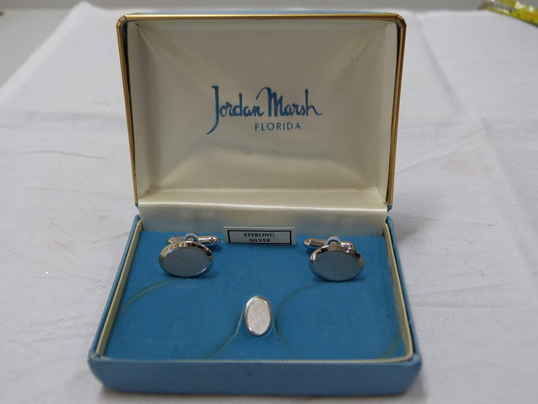 Lot # 234  Vintage Jordan Marsh STERLING cuff links w/matching tie clip