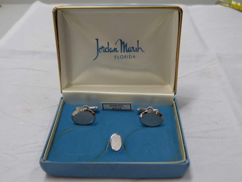 Lot # 234  Vintage Jordan Marsh STERLING cuff links w/matching tie clip (main image)