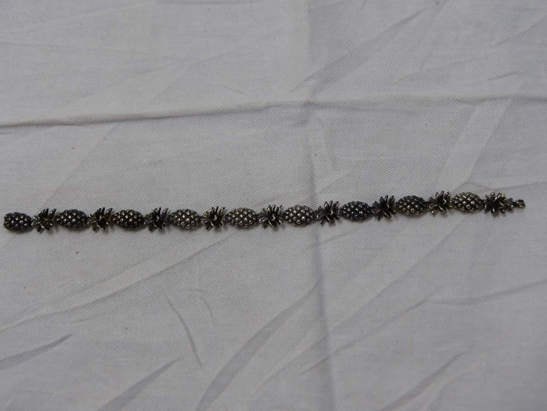"""Lot # 237  L@@K  Designer pineapple sterling silver 8"""" bracelet signed RaMama (noted artist)"""