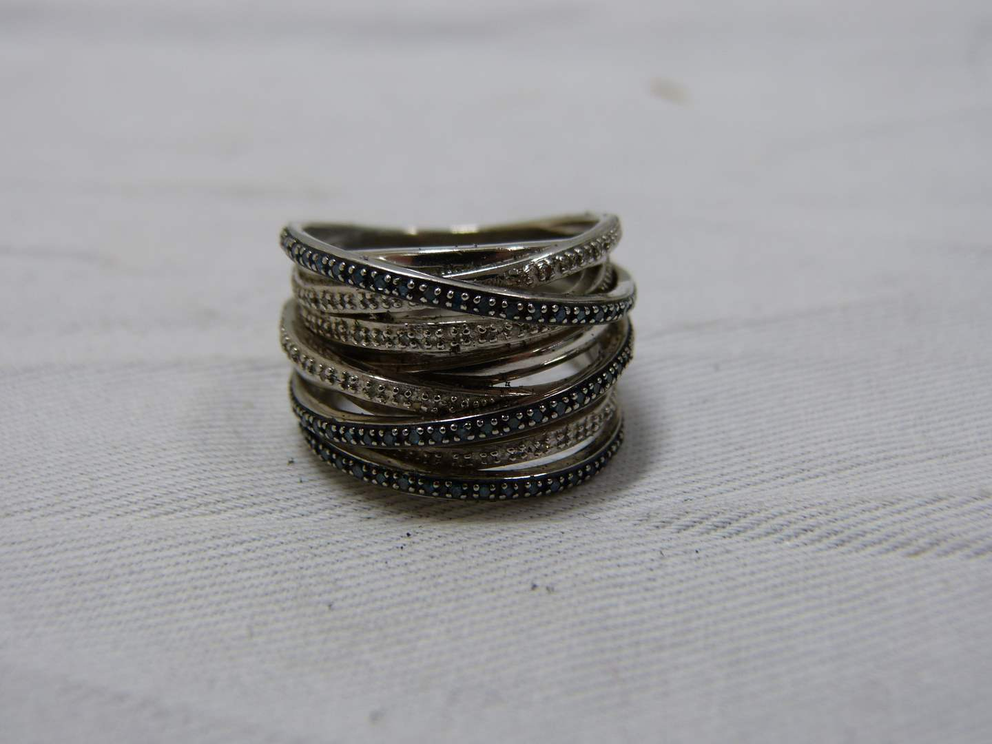 Lot # 239  Twisted sterling silver & marcasite heavy size 8 ring (main image)
