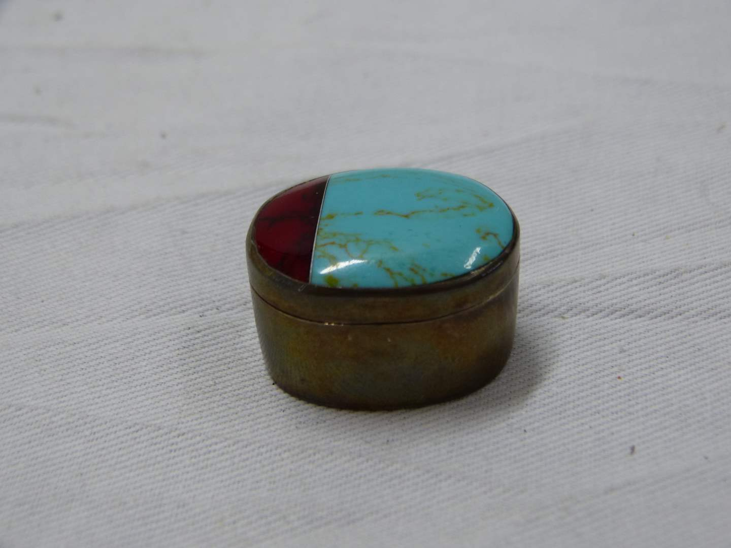 Lot # 246  Nice sterling silver & turquoise pill box Made in Mexico (main image)