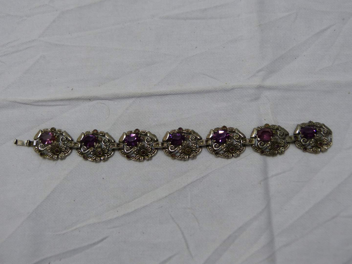 """Lot # 247  Vintage 7"""" amethyst flowered bracelet (shame there is no maker name it's a great piece) (main image)"""