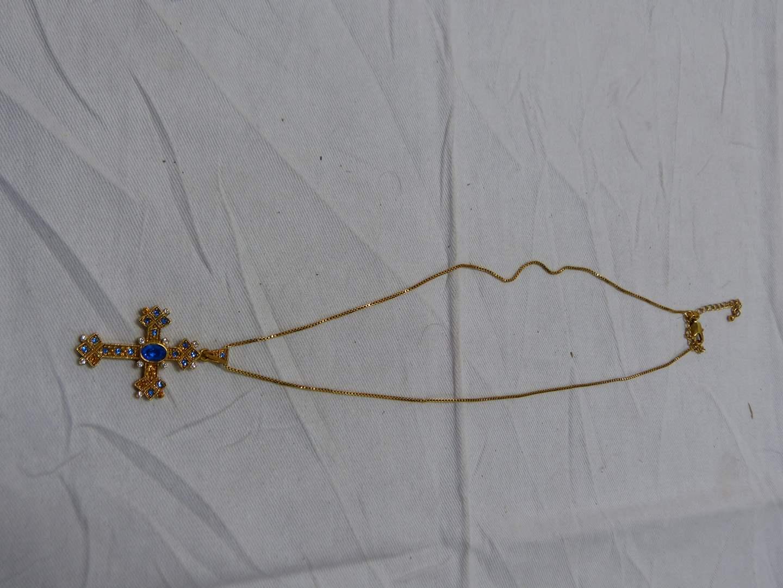 "Lot # 249  Jacqueline Kennedy necklace & cross pendant 18"" (main image)"