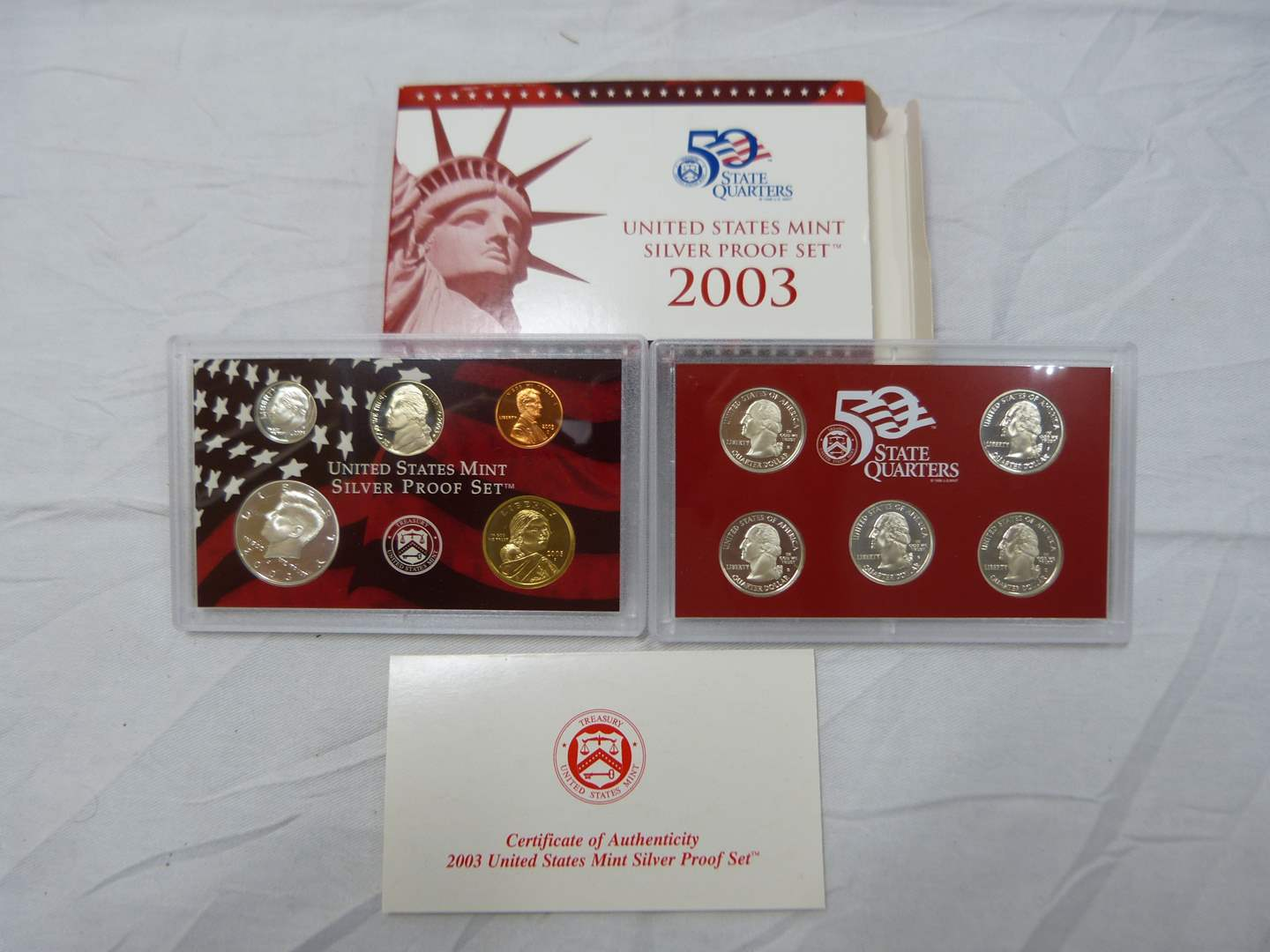 Lot # 251  United States 90% SILVER 2003 PROOF coin set including silver quarters (main image)