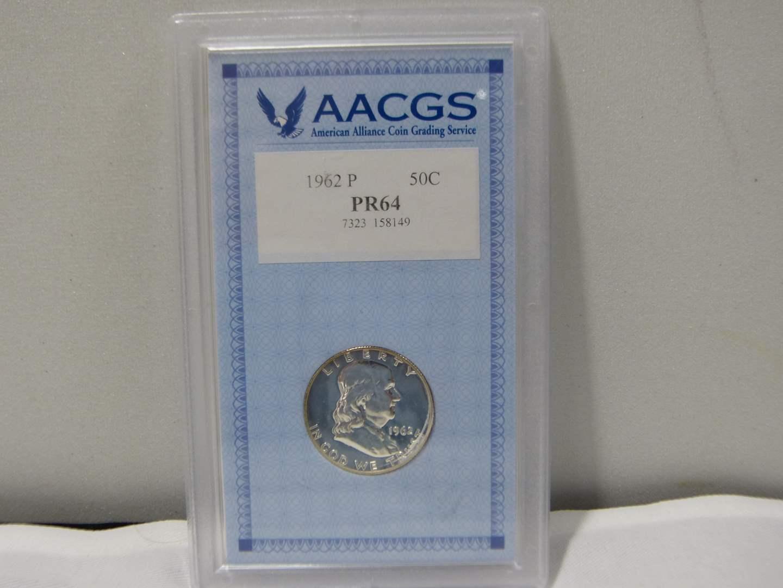 Lot # 255  HIGH grade slabbed Franklin 1962-P Silver Half Dollar PR64