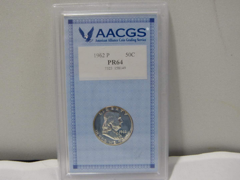 Lot # 255  HIGH grade slabbed Franklin 1962-P Silver Half Dollar PR64 (main image)
