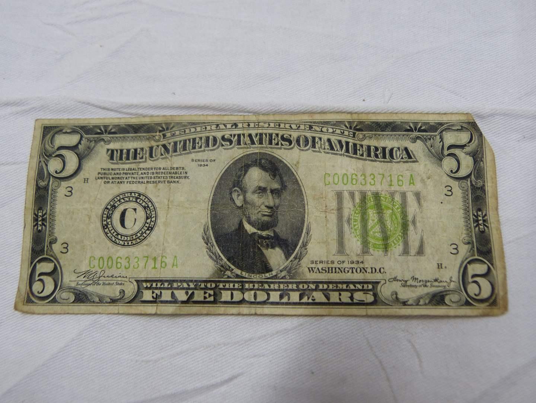 Lot # 272  1934 $5.00 bill