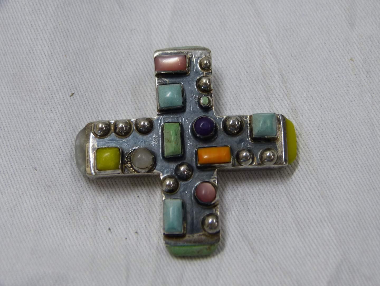 Lot # 284  Sterling Silver designer Made in Mexico multi stone cross pendant (main image)