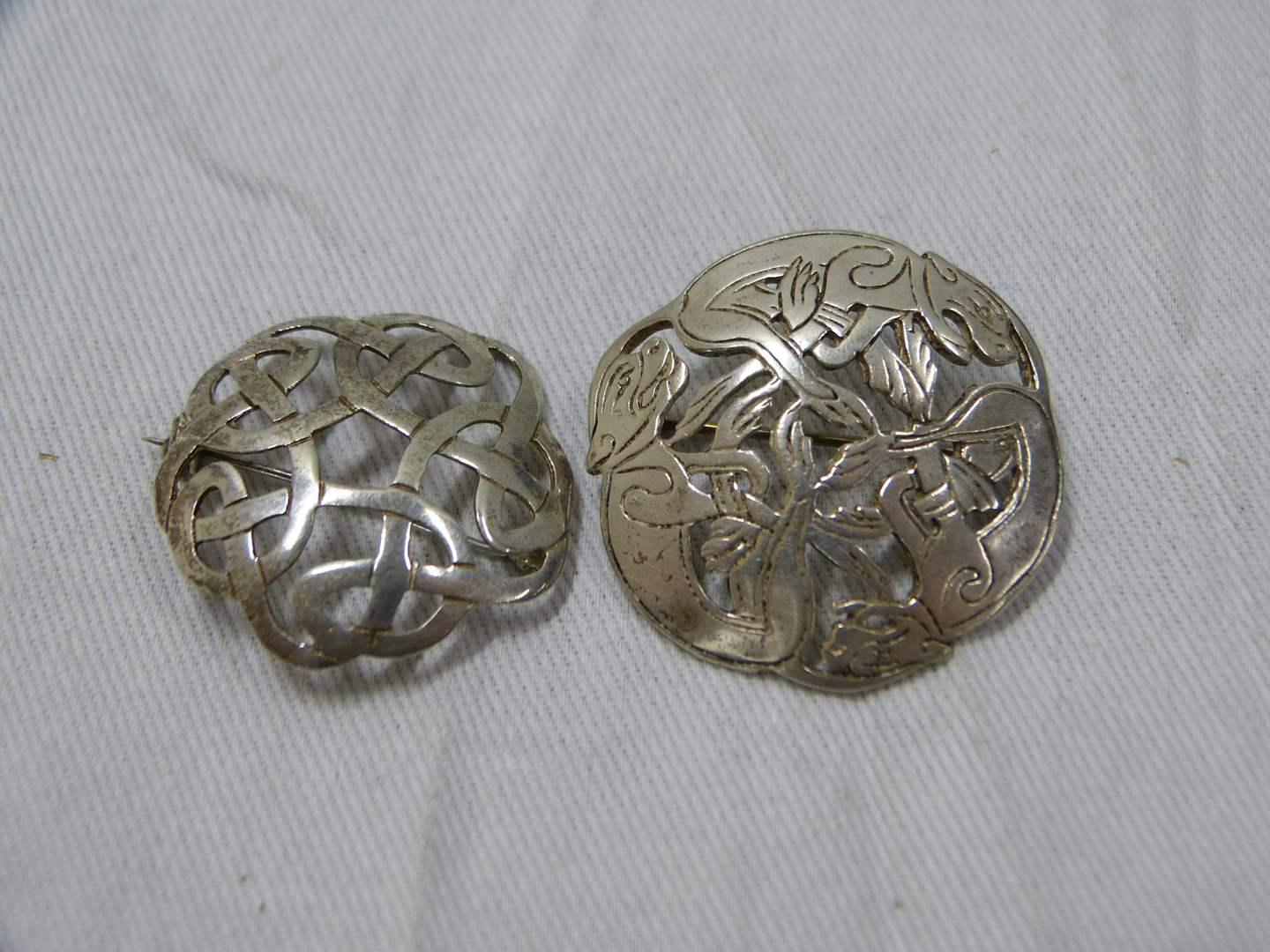Lot # 286  2 Reticulated sterling silver brooches (main image)