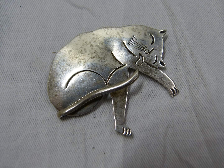 Lot # 287  Signed sterling silver cat brooch