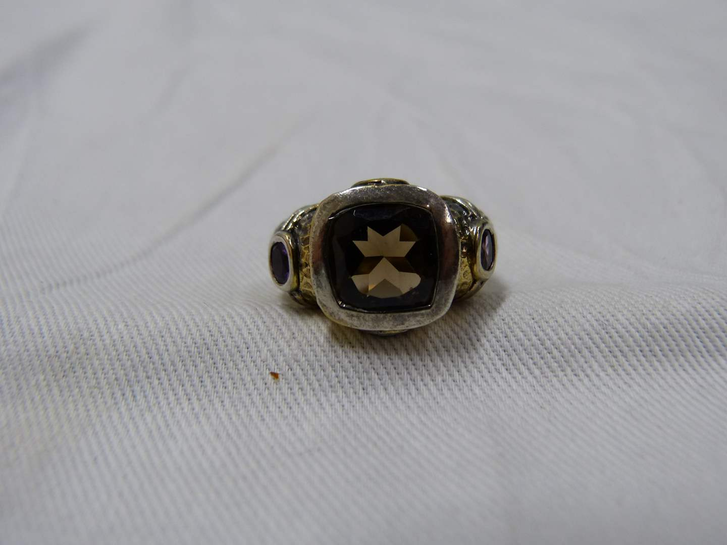 Lot # 289  Gold over sterling silver & amethyst size 7 ring (main image)
