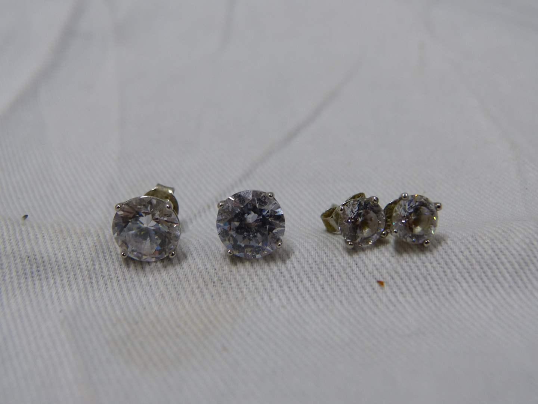 Lot # 291  2 pair sterling & CZ earrings  (main image)