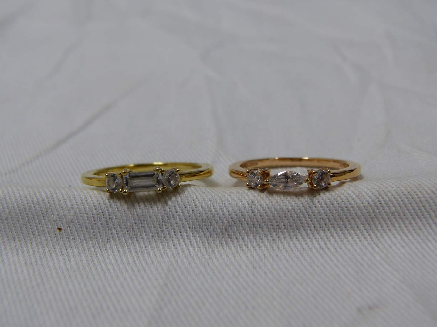 Lot # 292  2 gold over sterling silver size 9 rings (main image)