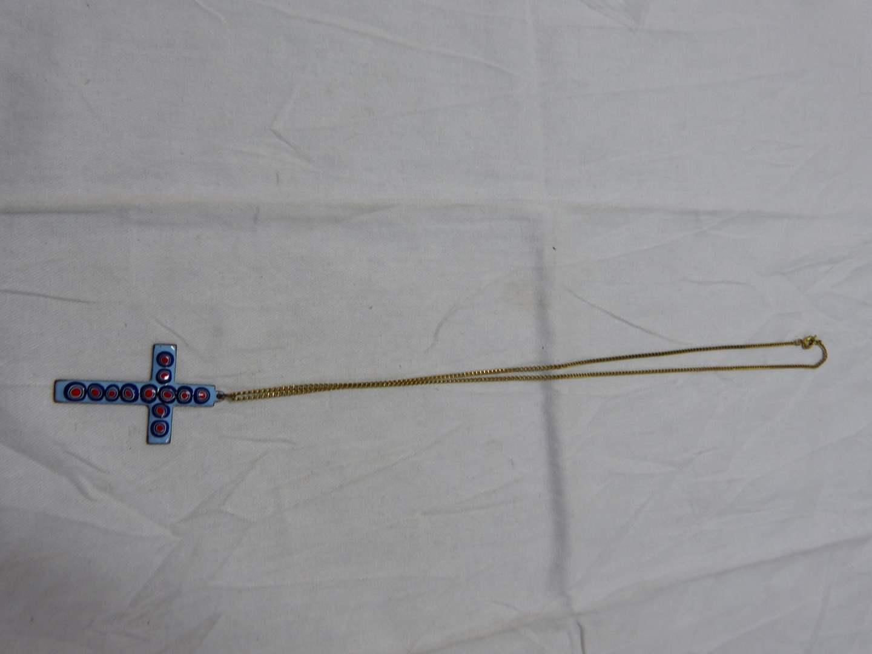 Lot # 294  Unique enamel cross on goldtone chain