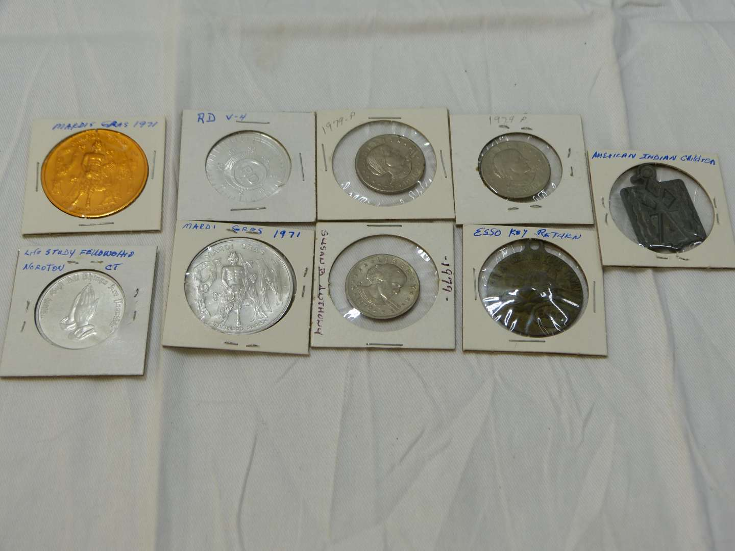 Lot # 46  Interesting lot of tokens & coins commemorative  (silver?)