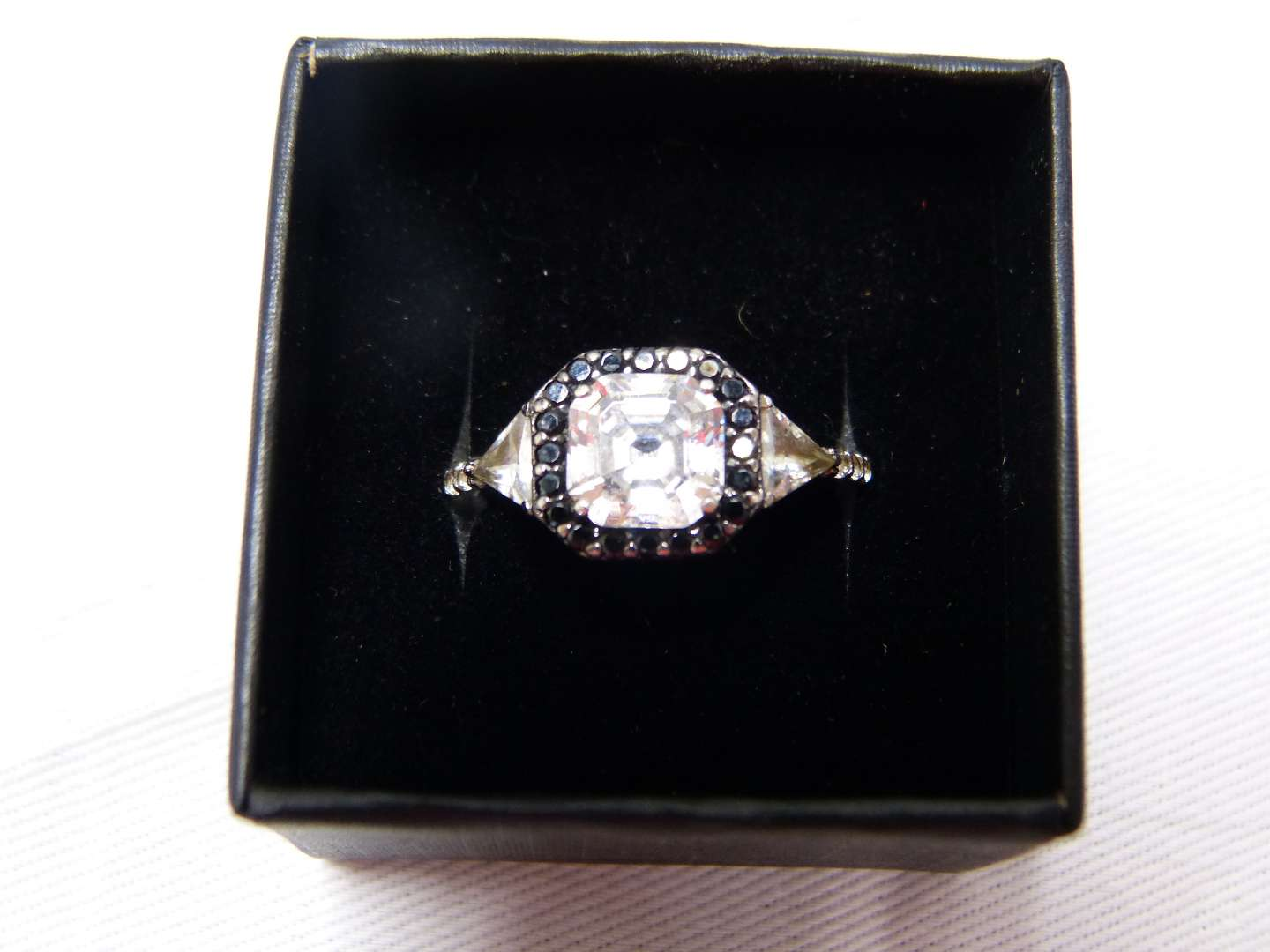 Lot # 94  Sterling silver large CZ & marcasite size 8 ring