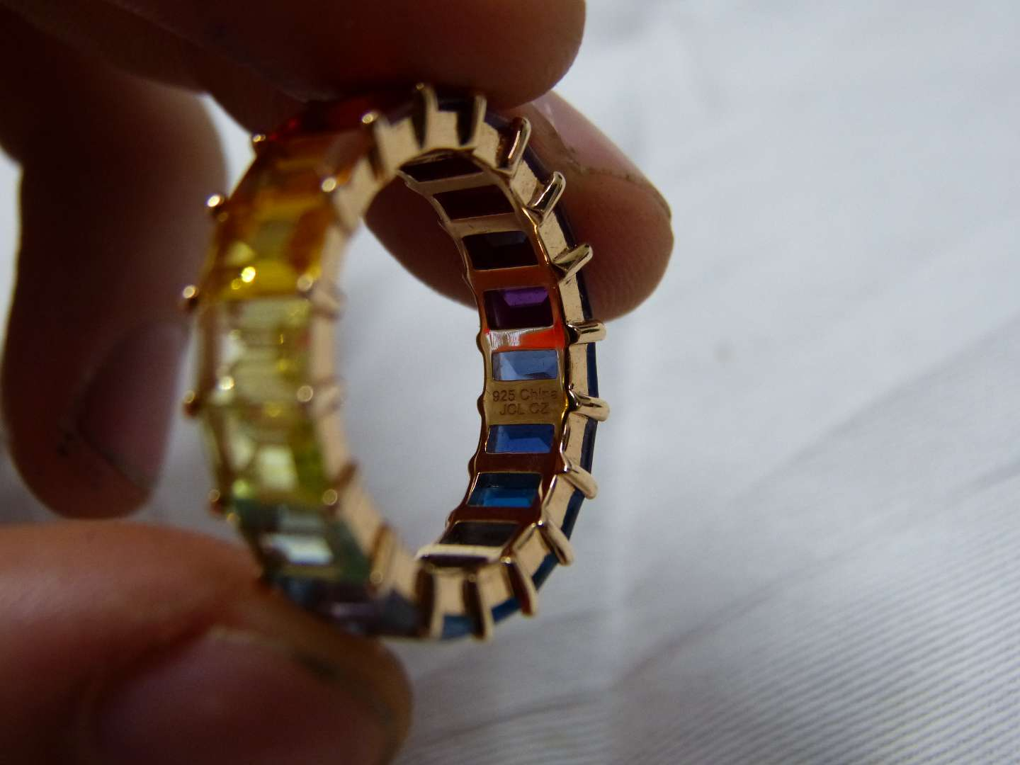 Lot # 100 Gold over sterling silver multi colored stones full band ring size 9