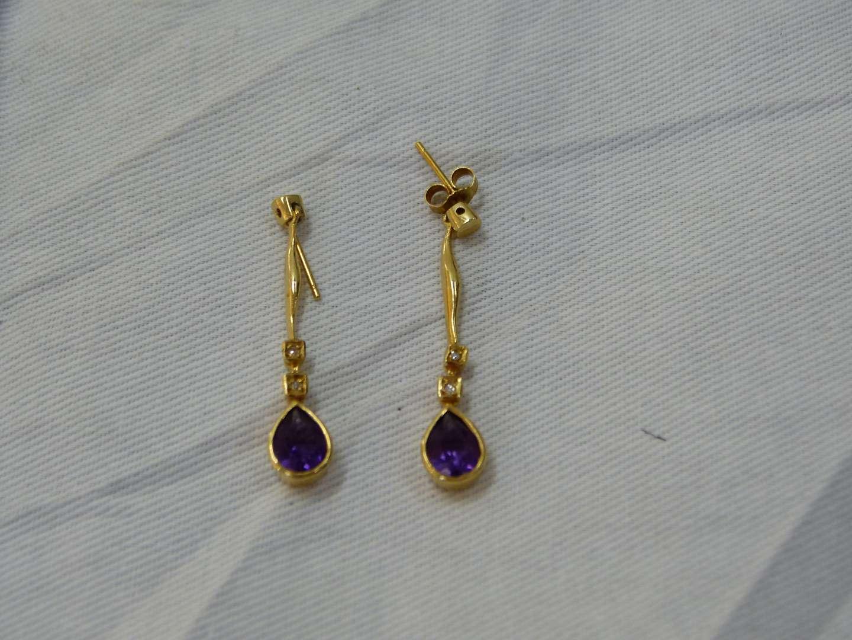Lot # 132  Tested and guaranteed 14K gold diamonds (real) & amethyst drop earrings 3.5 grams total (read below)