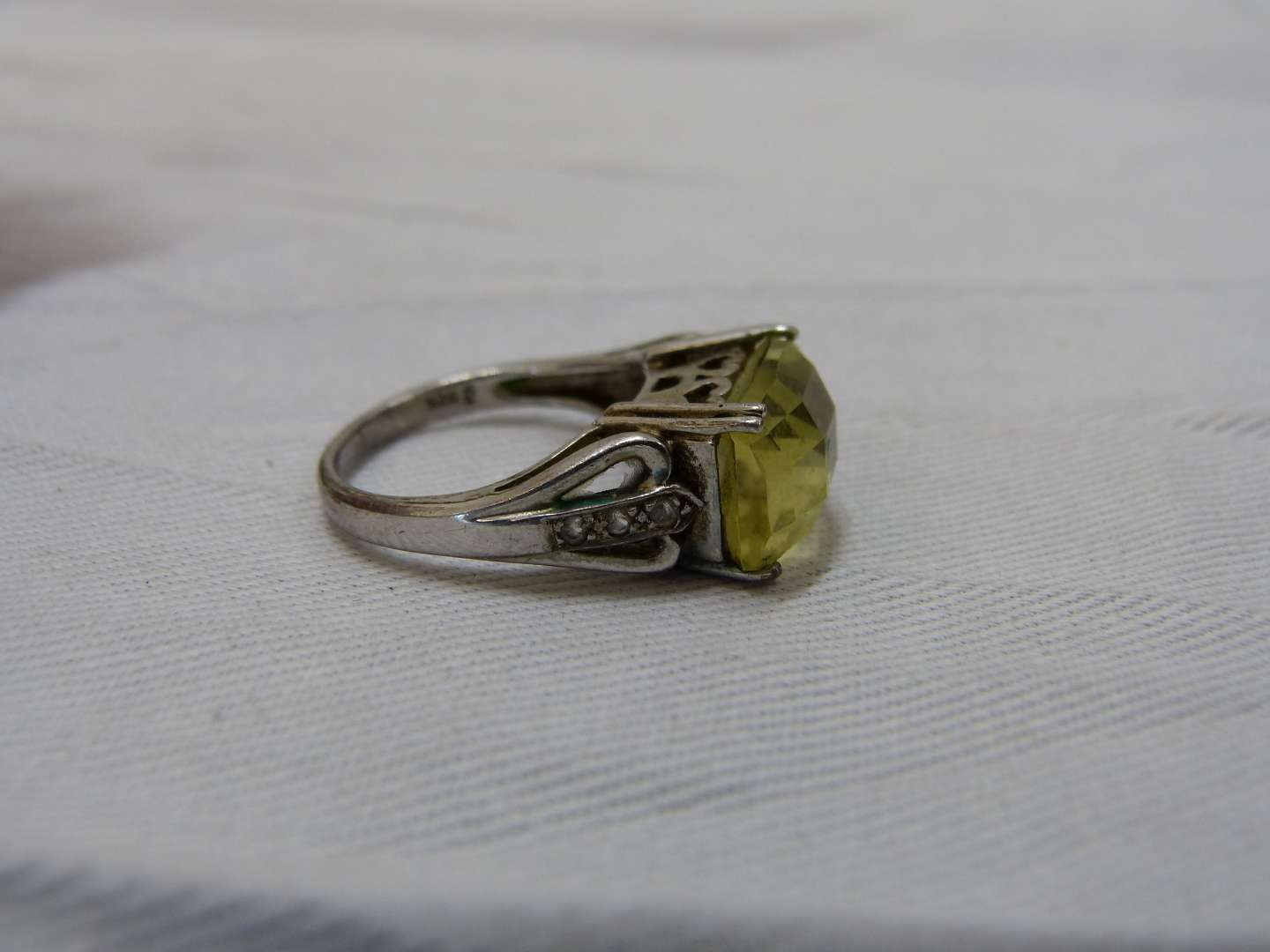 Lot # 145  Sterling silver & citrene reticulated ring size 7