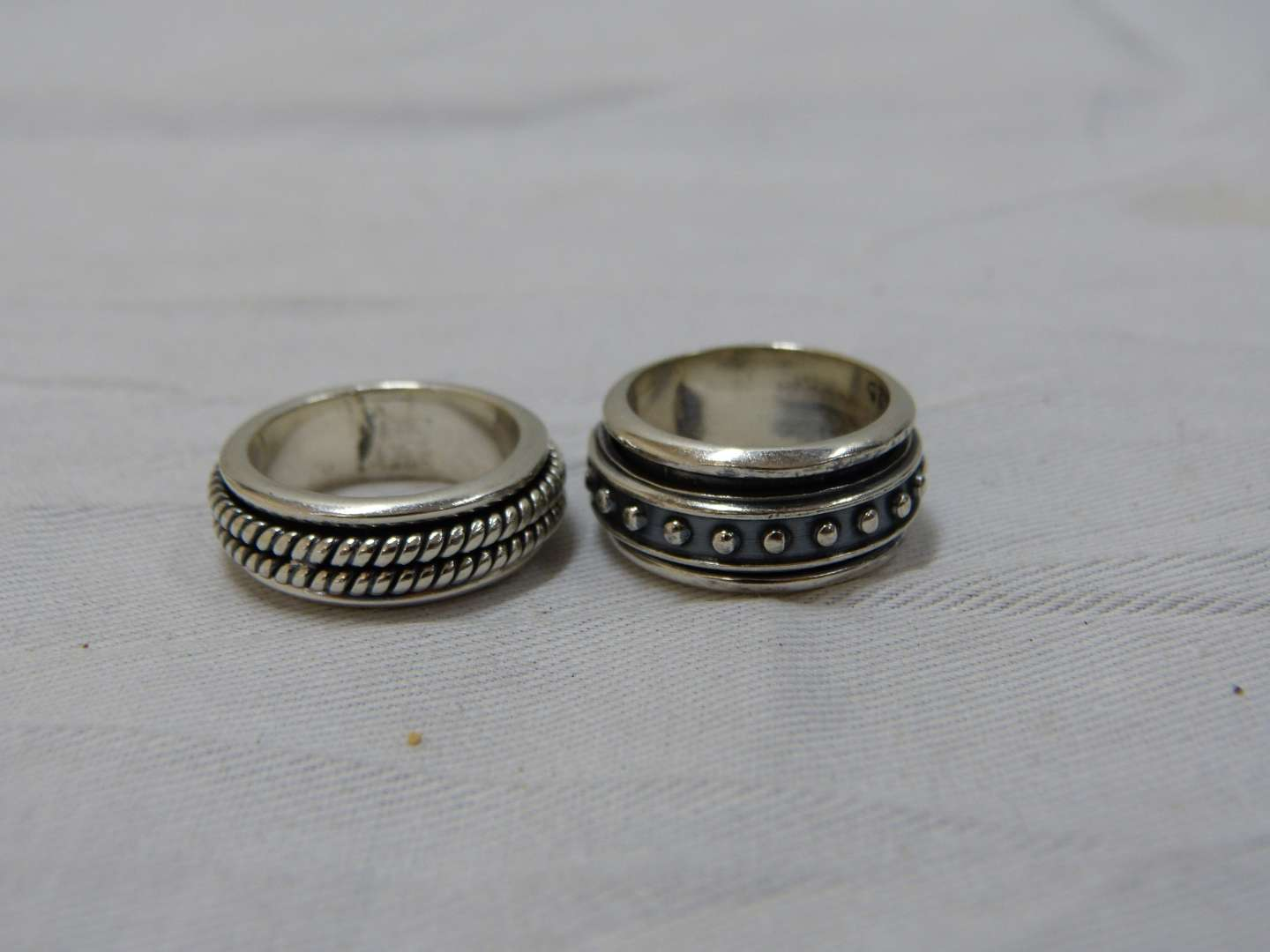Lot # 185  2 sterling silver size 7 & 8 rings