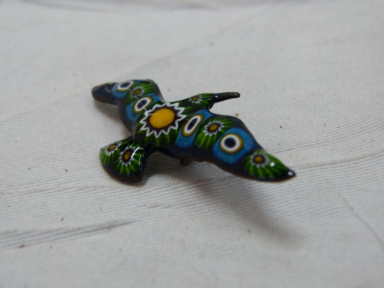 Lot # 198    Beautiful hand painted enamel bird pendant
