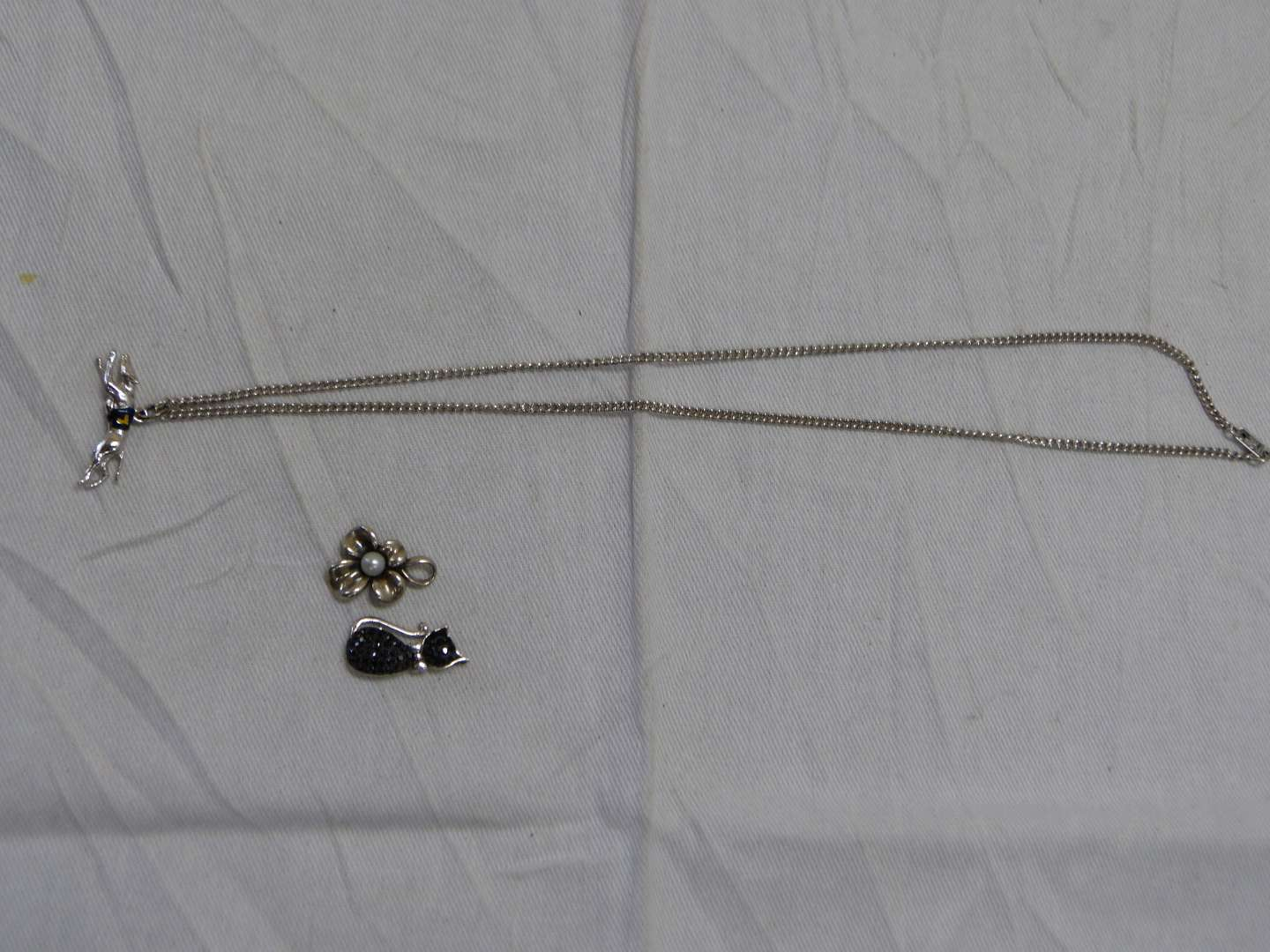 """Lot # 235  18"""" sterling by Spidel necklace with grayhound pendant & 2 other sterling pendants"""