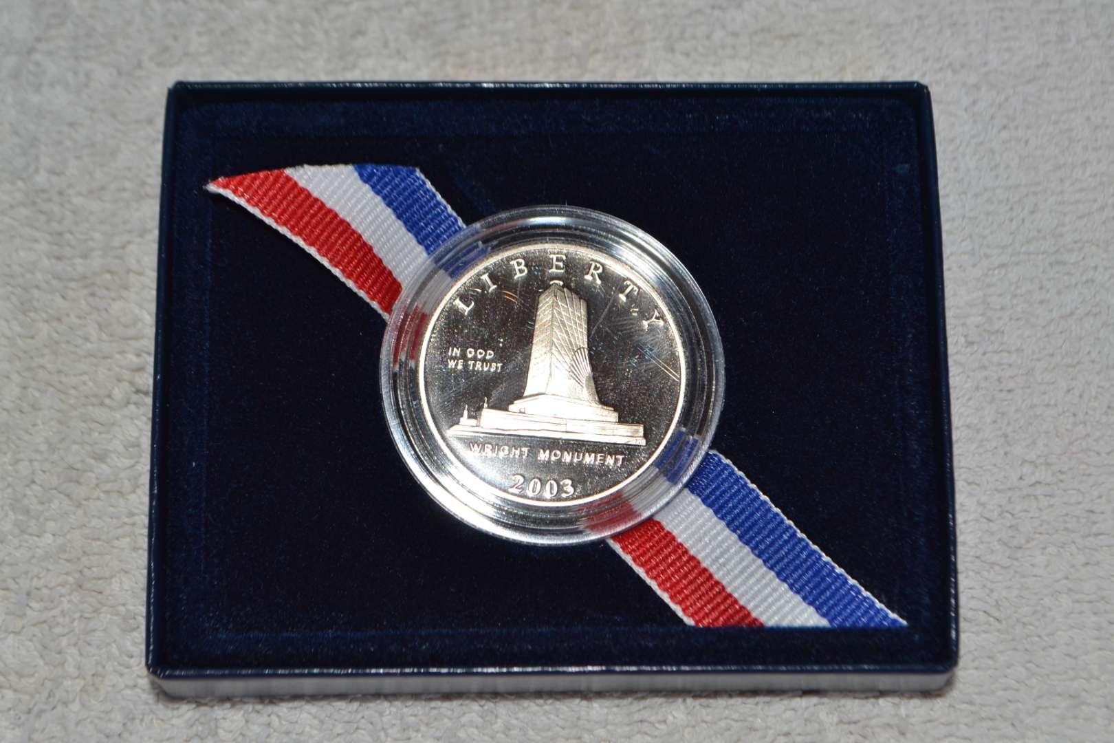 Lot # 33 2003 FIRST FLIGHT CENTENNIAL COMMEMORATIVE PROOF SILVER DOLLAR COINS