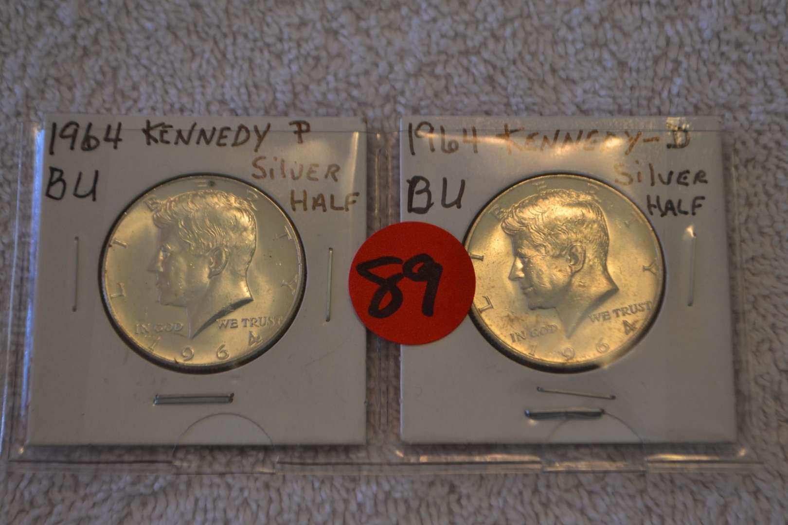Lot # 89 1964 KENNEDY SILVER HALF DOLLARS P & D BU