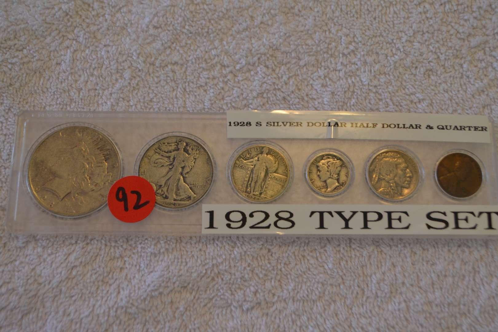 Lot # 92 1928 S SILVER DOLLAR, HALF DOLLAR & QUARTER TYPE SET