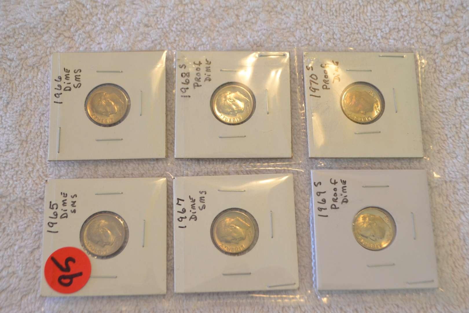 Lot # 95 THREE PROOF DIMES 1968S, 69S, 70S & THREE SMS DIMES 1955, 66, 67