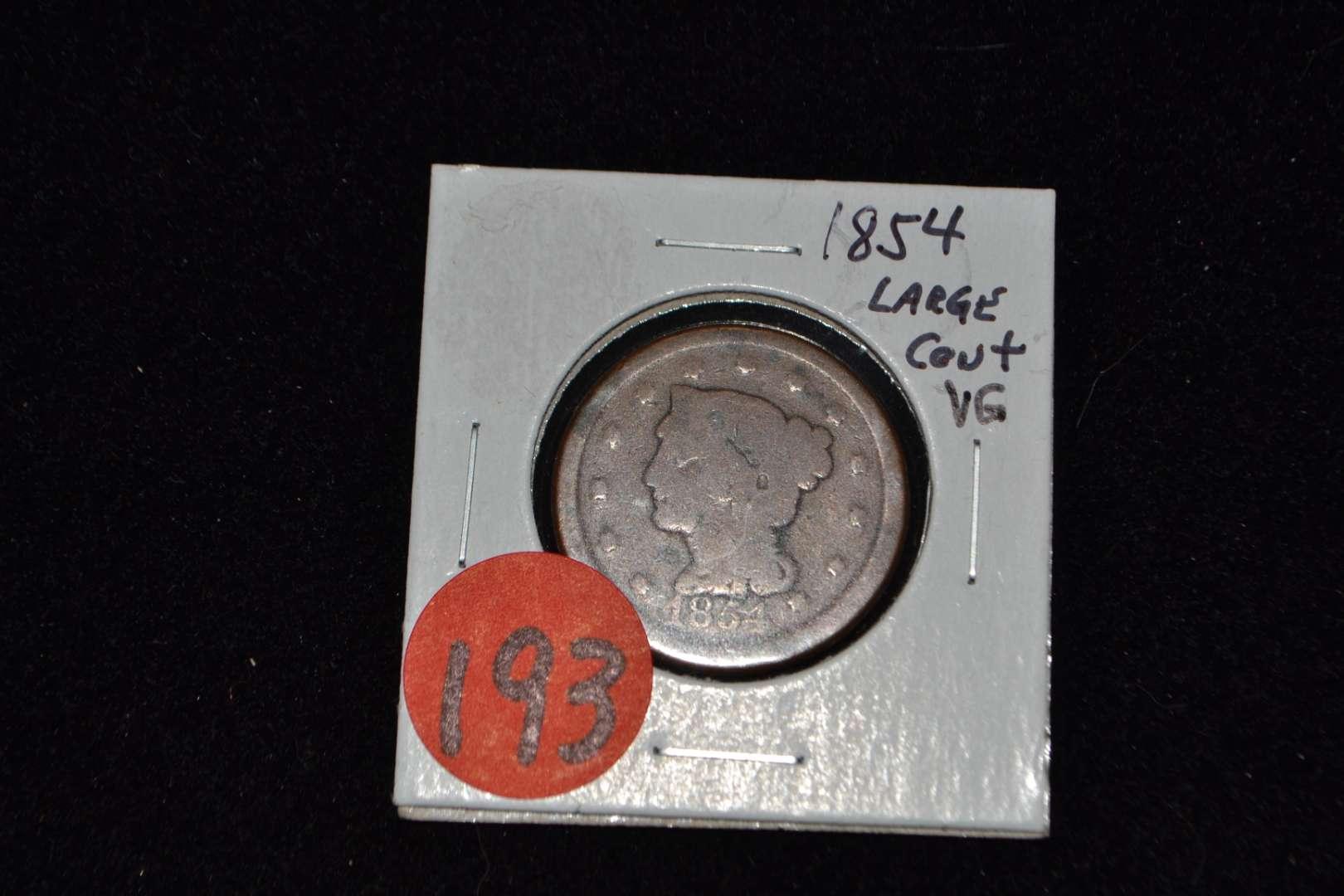 Lot # 193 1854 VG LARGE CENT