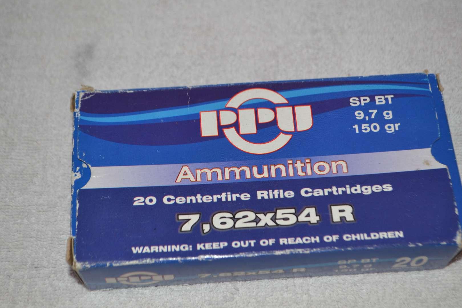 Lot # 273 PPU AMMUNITION 7.62 X 54R 20 CARTRIDGES