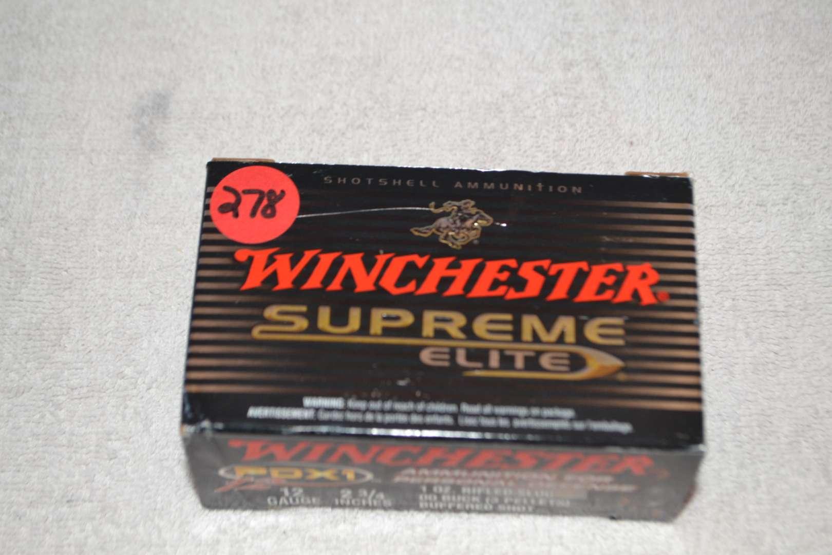 Lot # 278 WINCHESTER 12GA 2 3/4 SUPREME ELITE 9 SHOT GUN SHELLS