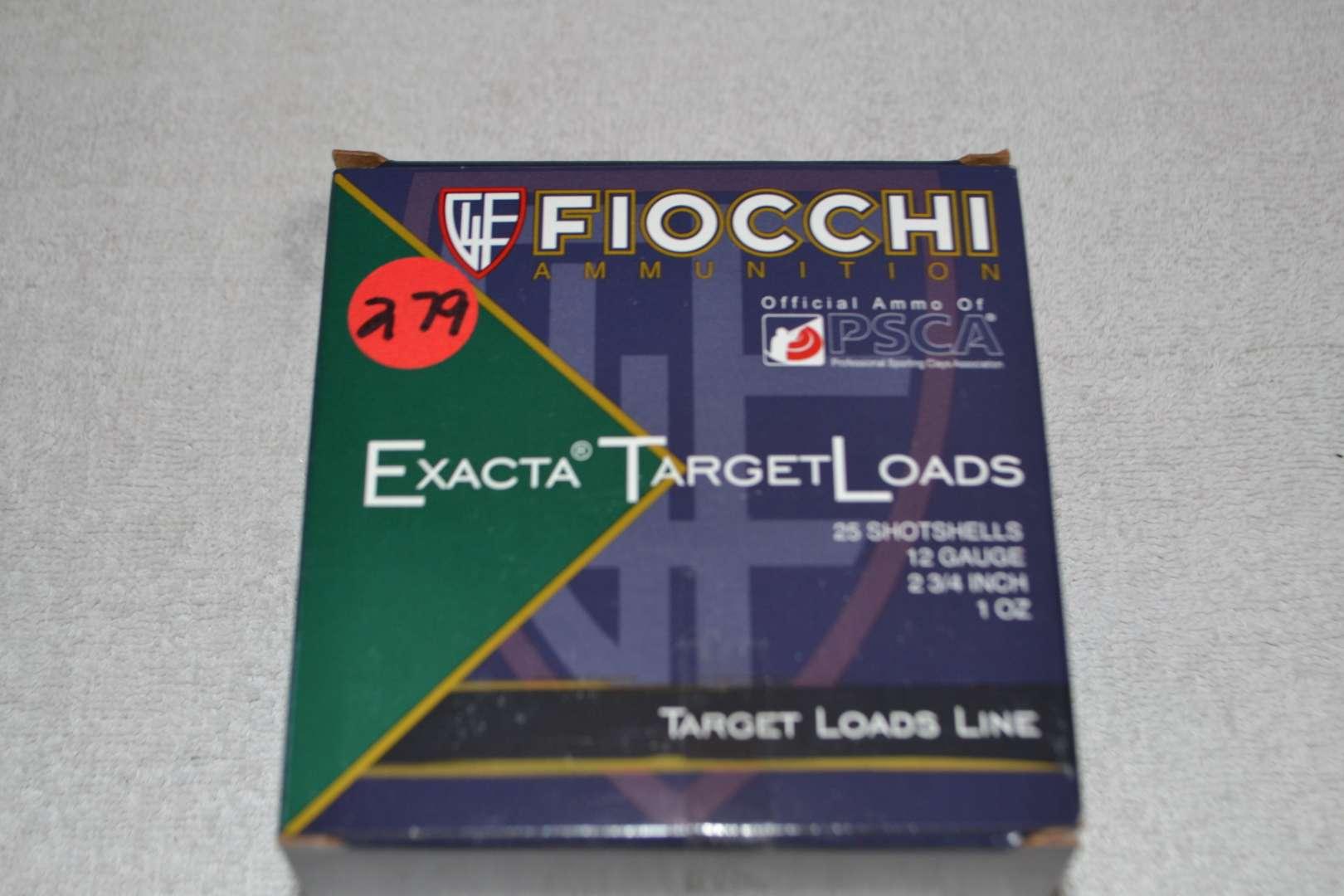 """Lot # 279 FIOCCHI EXACTA TARGET LOADS 25 SHOT SHELLS 12GA 2 3/4"""""""
