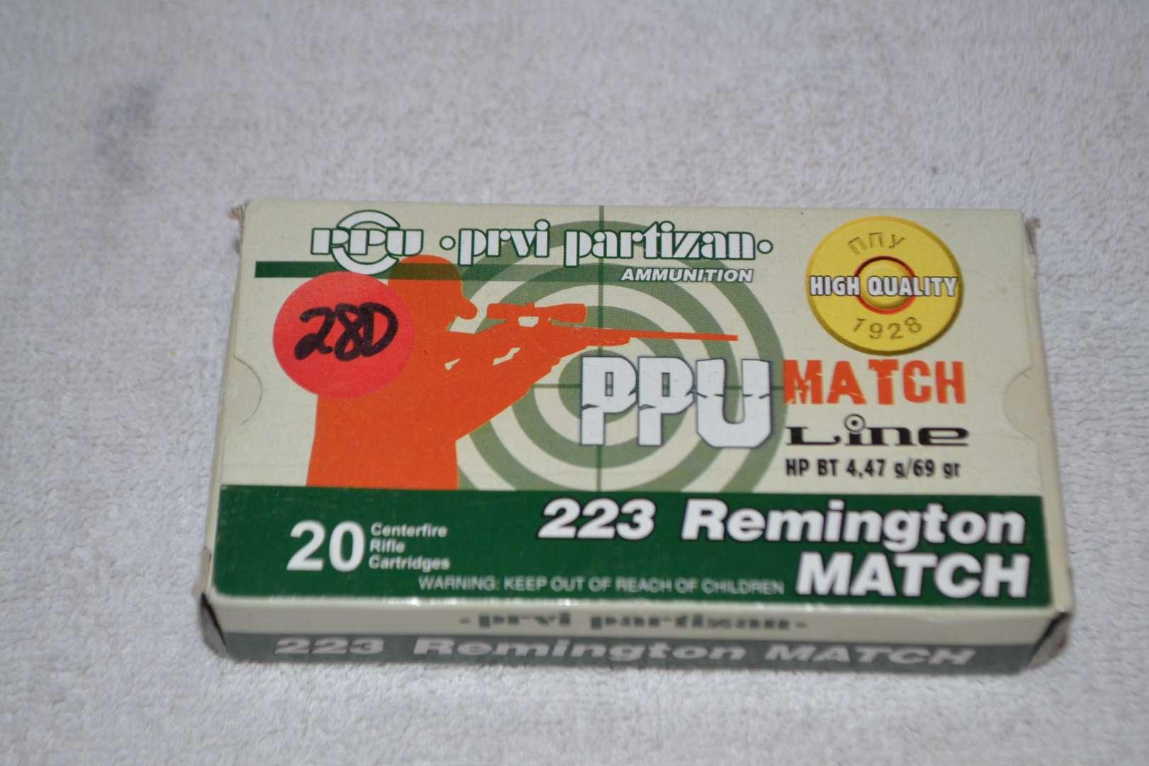 Lot # 280 223 REMINGTON MATCH 20 RIFLE CARTRIDGES