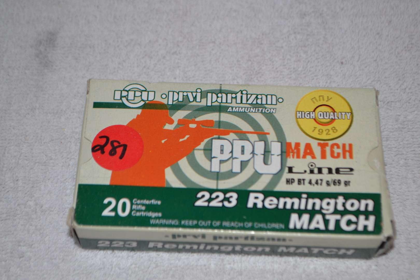 Lot # 281 223 REMINGTON MATCH 20 RIFLE CARTRIDGES