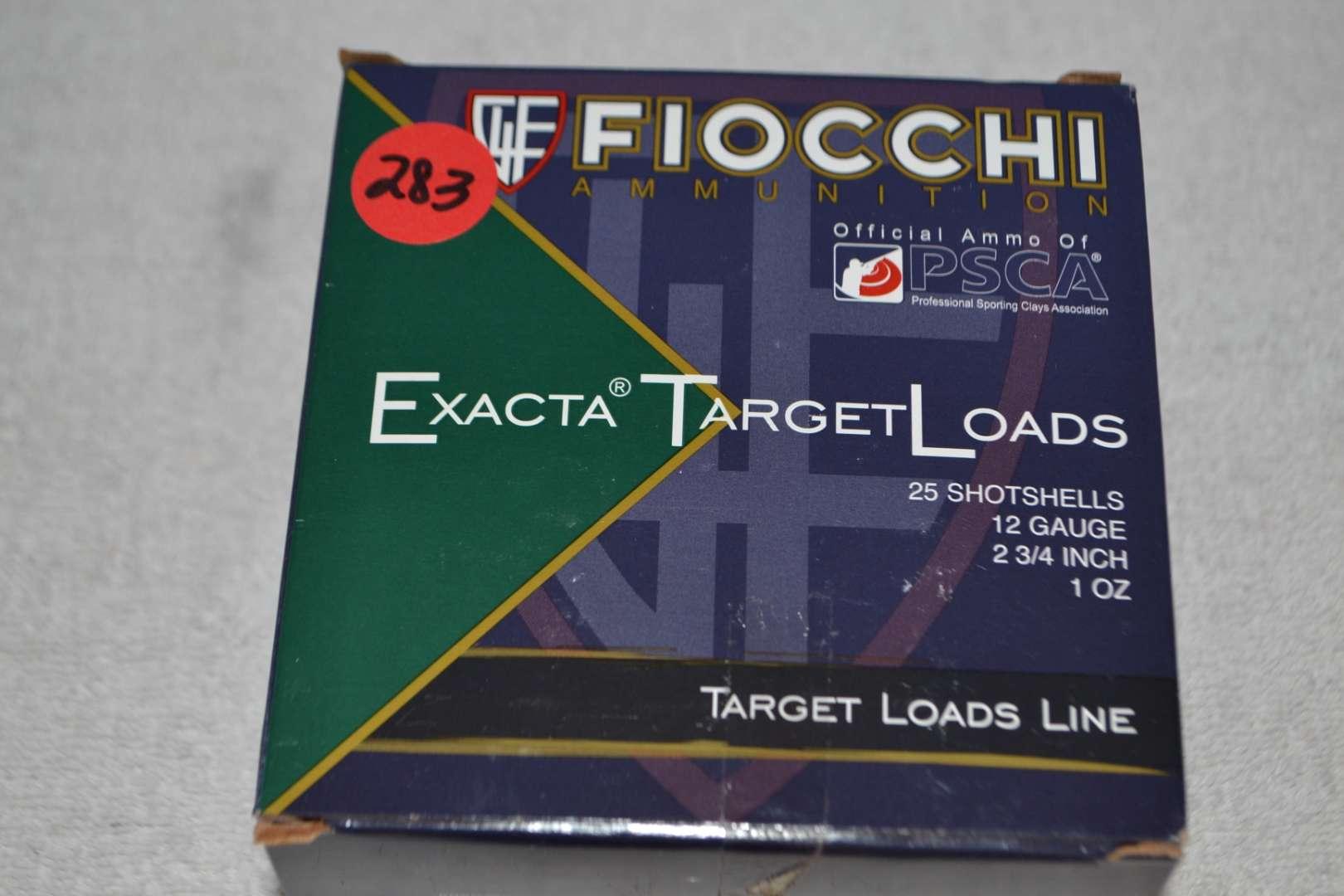 "Lot # 283 FIOCCHI AMMUNITION 25 SHOT SHELLS 12 GA 2 3/4"""