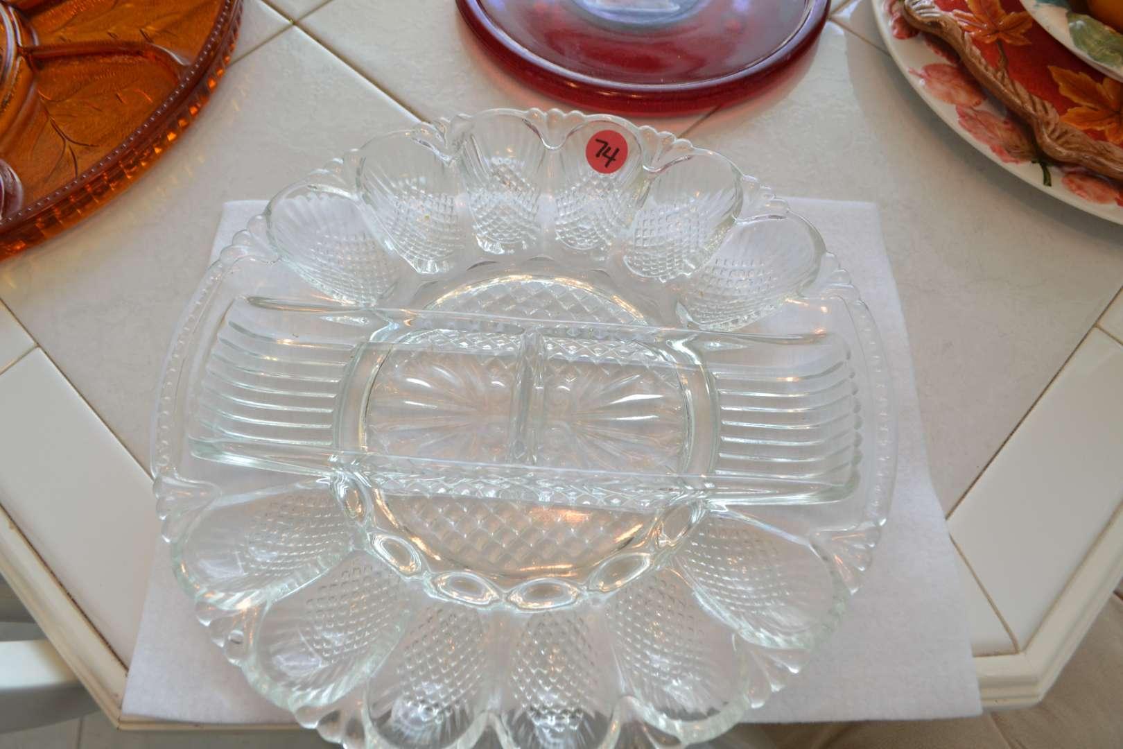 Lot # 74 DEVILED EGG GLASS SERVING TRAY