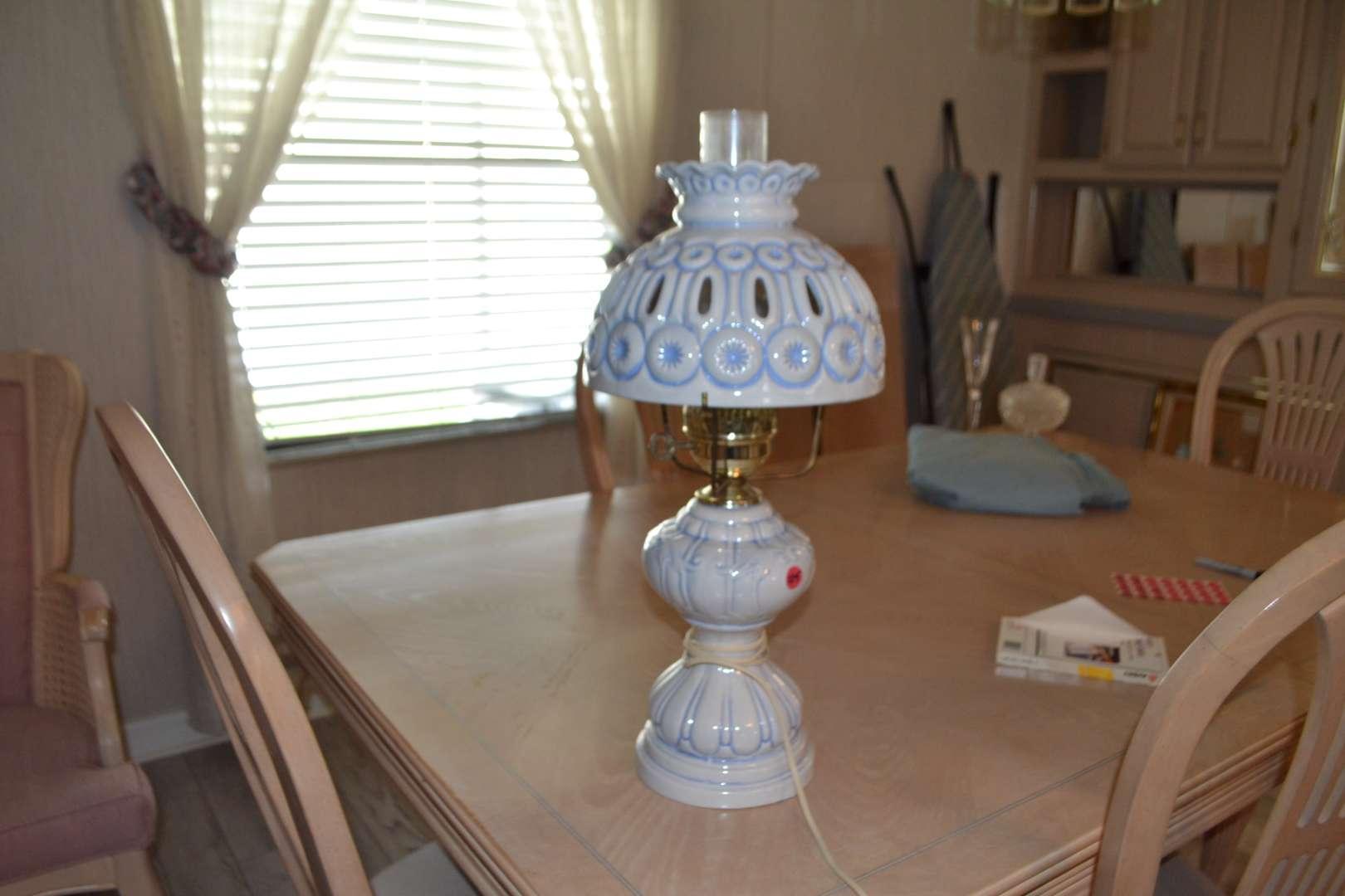 Lot # 105 VERY PRETTY BLUE LAMP (VERY HEAVY)