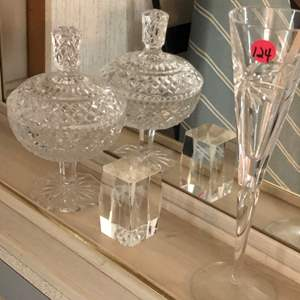 Lot # 124 3 PIECES, CANDY DISH, GLASS BLOCK, CHAMPAGNE GLASS