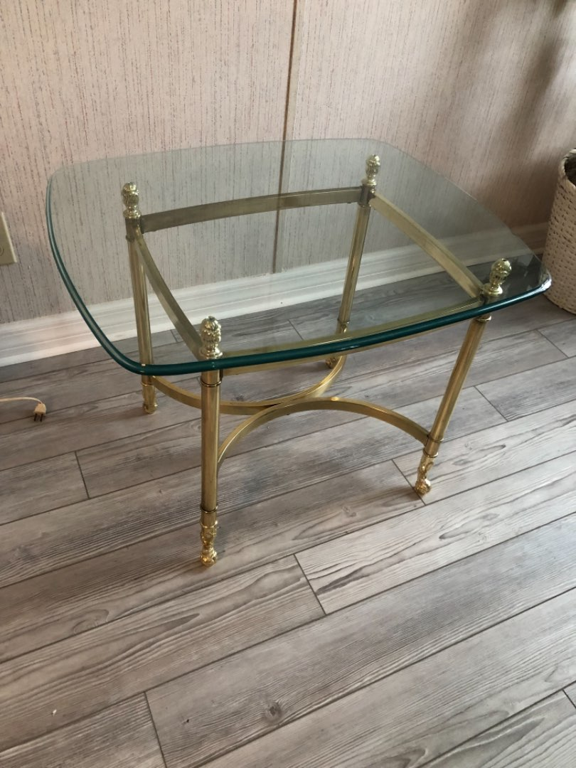 Lot # 147 GLASS END TABLE