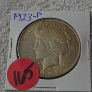Lot # 165 1923 SILVER PEACE DOLLAR