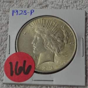 Lot # 166 1923 SILVER PEACE DOLLAR